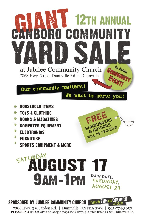2019 Dunnville Community Yard Sale Information Poster