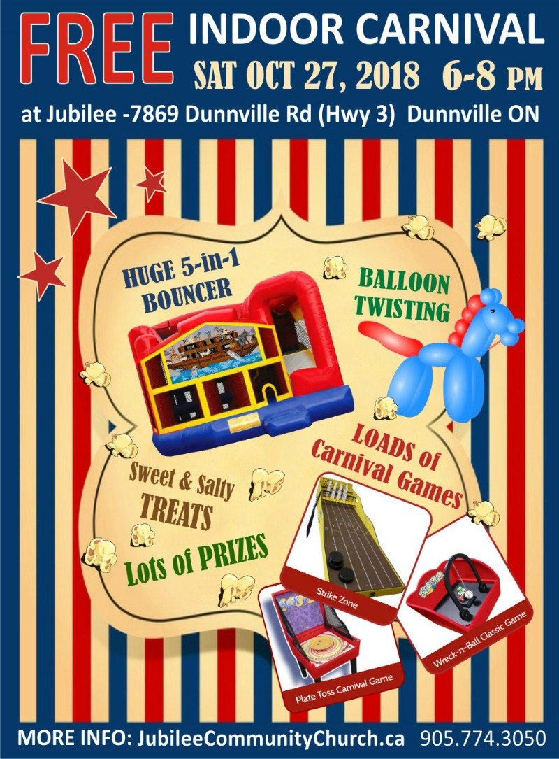 Poster for Jubilee Community Church's FREE 2018 Indoor Carnival Fallfest Event on October 27 in Dunnville, ON