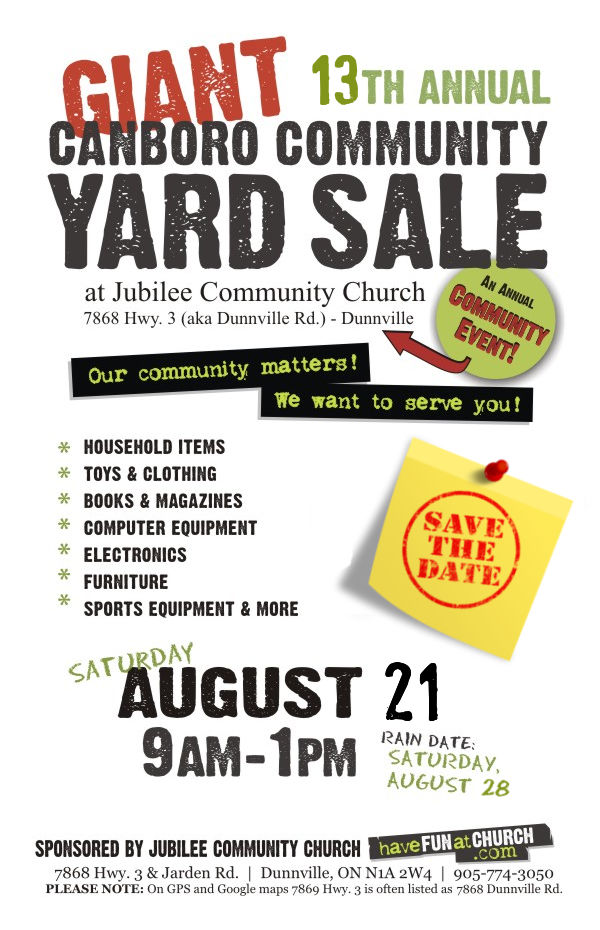 2021 Dunnville Community Yard Sale Information Poster