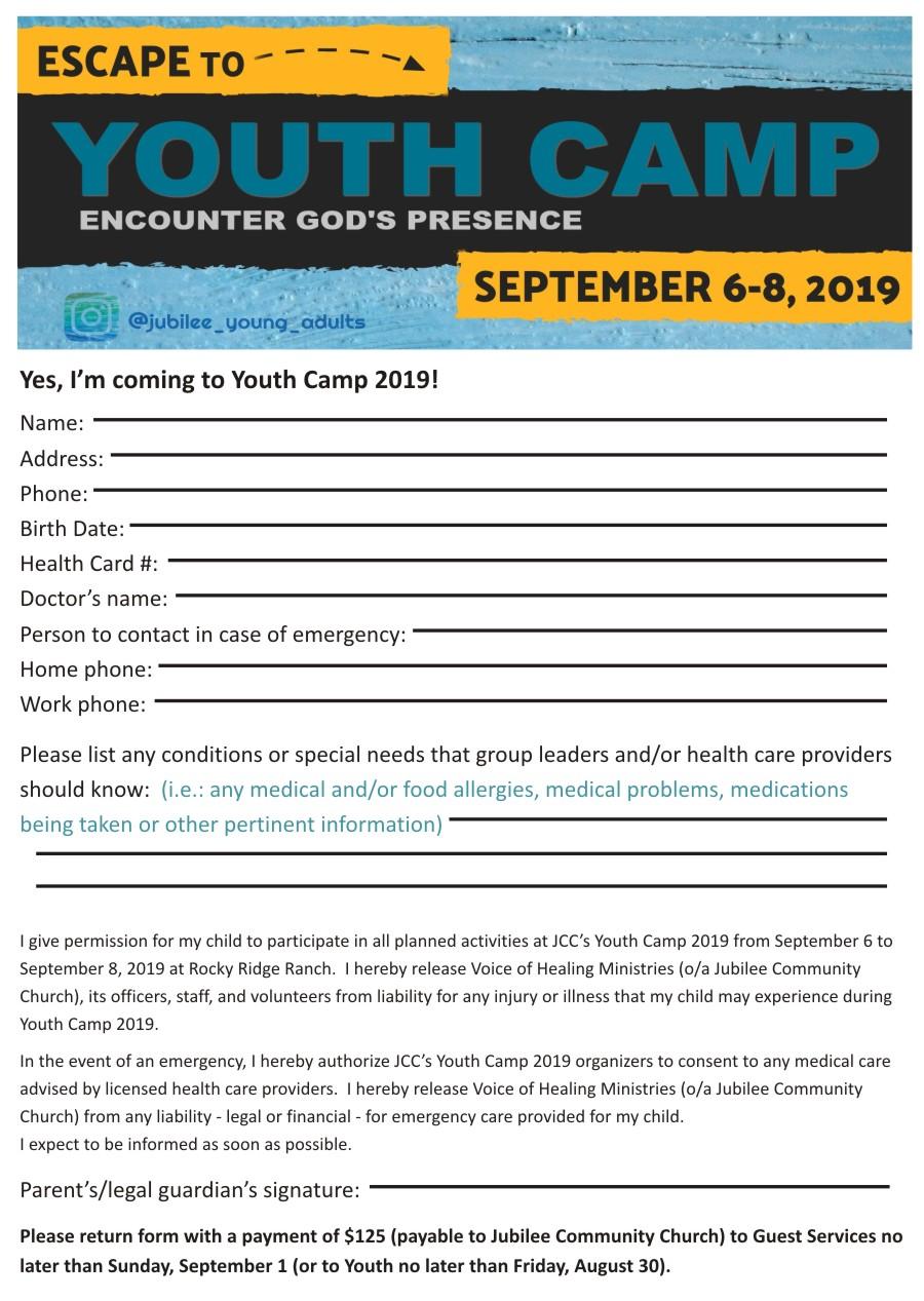 Jubilee Youth Camp 2019 Registration Form